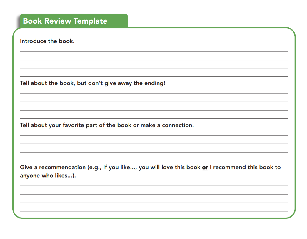 format of writing a book review